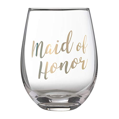 Lillian Rose G115 MH Gold Maid of Honor Stemless Wine Glass, Height 4.75 inches,