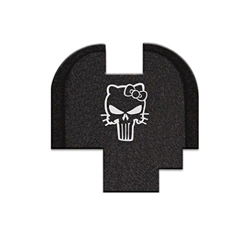 BASTION Rear Slide Cover Plate For Springfield XDS 9mm .40SW .45 ACP models ONLY, butt plate Laser Engraved - Hello Kitty Skull