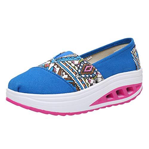 Lona Cómodos Wedge Plataforma Running Casual Sneaker 18impreso Mocasines Zapatos de Deporte Zapatillas Mujer Cuña LINNUO Impreso de HBTPZ