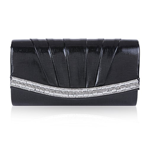 Damara Women Crystal Magnet Flap Pintuck Evening Bag,Black (Evening Metallic Bag Pouch)