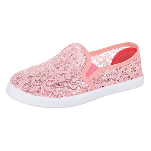 Ital-Design Damen Schuhe, AC-39, Halbschuhe Slipper mit Spitze Rosa AC-38-