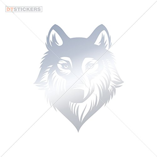 Vinyl Stickers Decals Vinyl Wolf Mobile Garage home window (6 X 5,04 In. ) Metallic Chrome Mirror