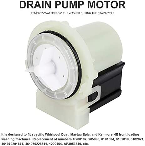 Drain Pump Strainer Motor Kit Compatible Whirlpool Duet Kenmore HE2 Maytag Epic