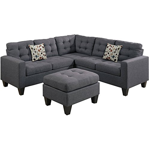 Polyfabric 4-Piece Sectional with Ottoman Set, Tufted Seat and Back, Linen-Like Polyfiber, Foam Filled Seat Cushions with Inner Spring for Durability and Comfort, Grey + Expert Guide