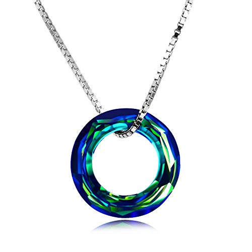 AOBOCO 925 Sterling Silver Necklace with Swarovski Crystals Jewelry for Women Girl (Dia 0.78