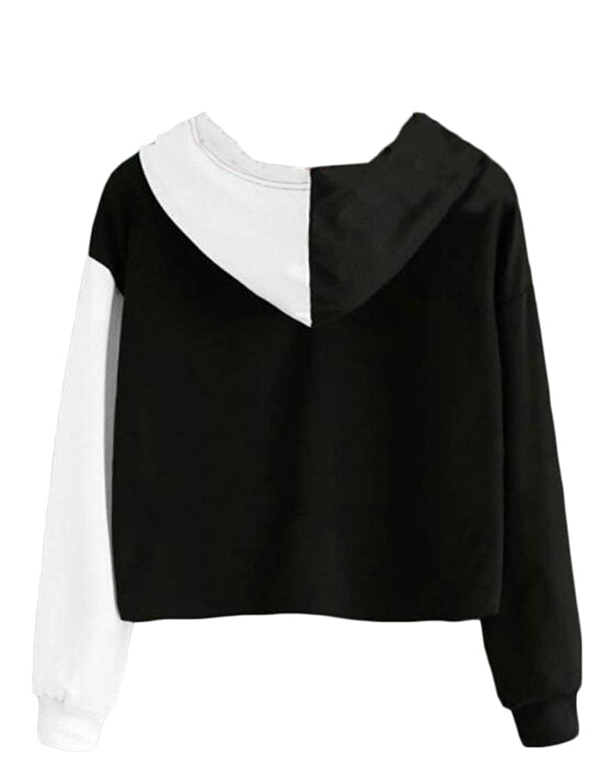 Hajotrawa Womens Fashion Print Hooded Pullover Contrast Colors Sweatshirts Jacket