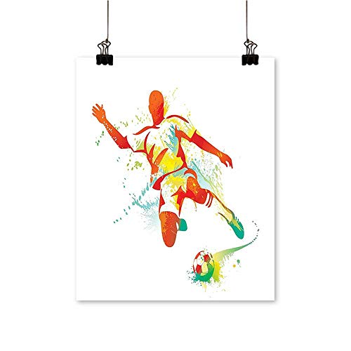 1 Piece Wall Art Painting Soccer Player Kicks The Ball Pa Splash Speed Boots Orange Teal Blue Living Room Office Decoration,20