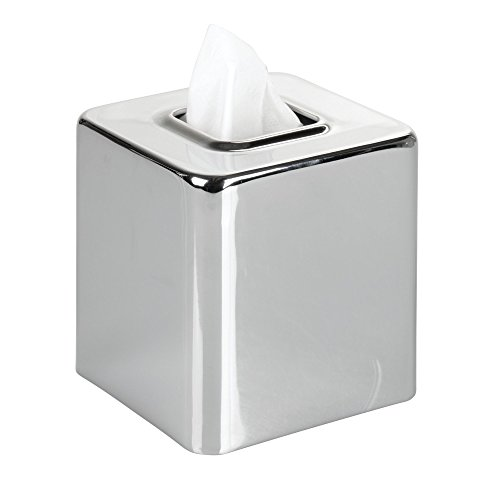 Chrome Table Steel (mDesign Square Paper Facial Tissue Box Cover Holder for Bathroom Vanity Countertops, Bedroom Dressers, Night Stands, Desks and Tables - Steel, Chrome)