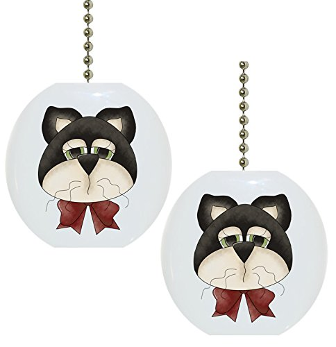 Set of 2 Cat Head Country Solid Ceramic Fan Pulls