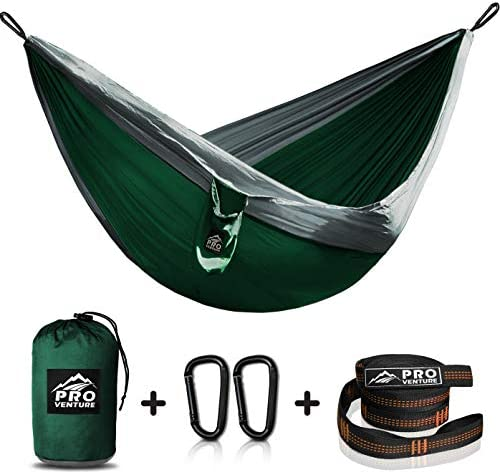 Double Full and Single Twin Camping Hammocks – Hammock with Free Premium Straps Carabiners – Lightweight and Compact Parachute Nylon. Backpacker Approved and Ready for Adventure