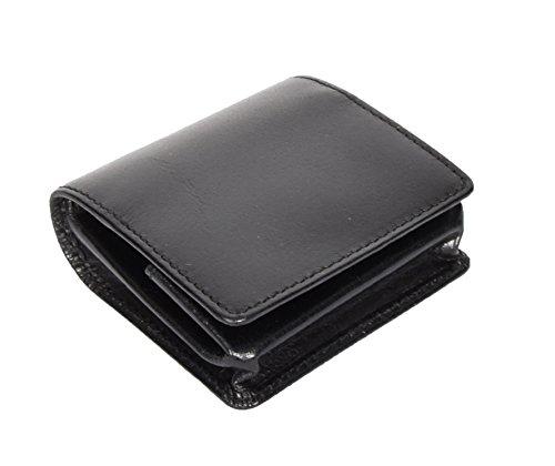 Wallet Purse Coin Black Change Philip Pouch Brown Case Pocket Tray Genuine Black Leather Black tZAwH