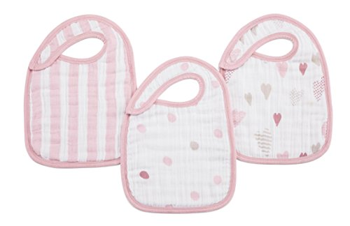 "aden + anais Classic Snap Bib, 100% Cotton Muslin, Soft Absorbent 3 Layers, Adjustable, 9"" X 13"", 3 Pack, Heart Breaker"