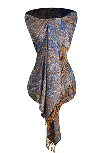 Peach Couture Women's Ravishing Reversible Jacquard Paisley Shawl Wrap Pashmina Blue