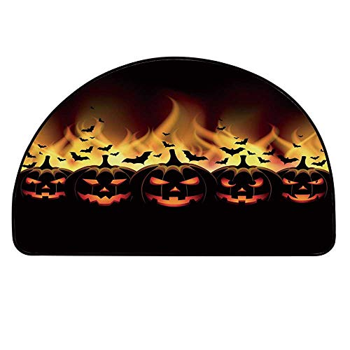 YOLIYANA Vintage Halloween Half Round Door Mat,Happy Halloween Image with Jack o Lanterns on Fire with Bats Holiday Decorative for Indoor Outdoor,31.4