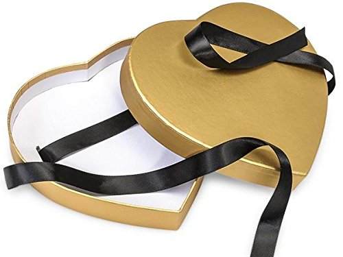 Gold Small Matte Heart Shaped Boxes - 6 3/4 x 6 1/8 x 1 1/4in. - 39 Pack by NW