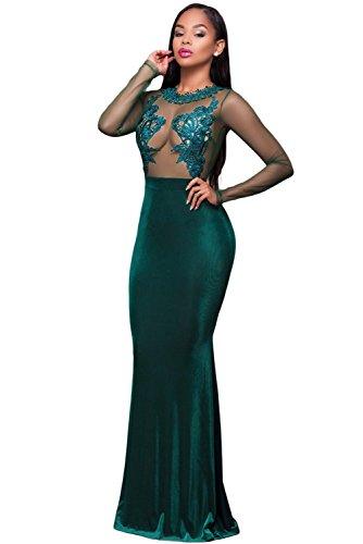 Nuevas señoras verde encaje y malla vestido de noche Maxi vestido crucero Prom Cóctel desgaste vestido talla S UK 8–10EU 36–38