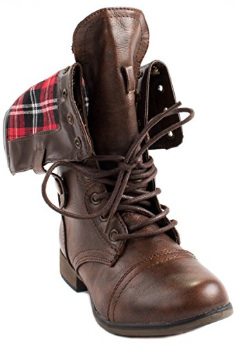 Forever Womens Legend-8 Lace Up Folding Shaft Ankle Boots With Full Back Zipper Brown F1zI15