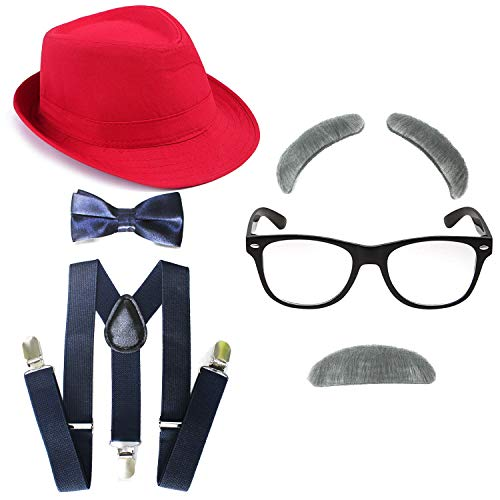 Kakaxi 1920's Boys Fedora Gangster Hat,Suspenders w/Pre-Tied Bow Tie, Old Man Eyebrows,Moustache,Nerd Fake Glasses (OneSize, Red Hat & Navy-Blue Suspenders) -