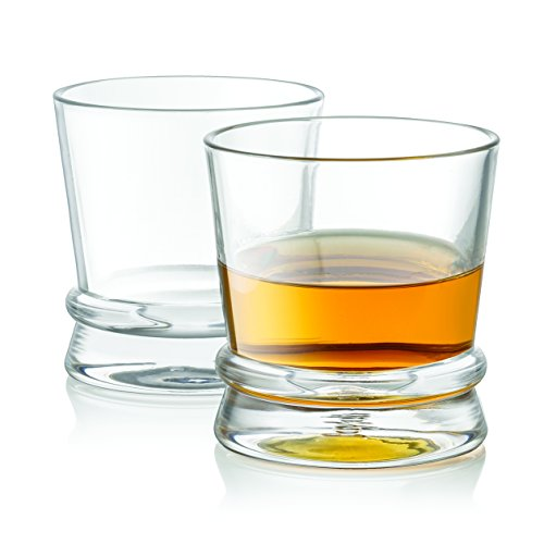 JoyJolt Afina Scotch Glasses, Old Fashioned Whiskey Glasses 10-Ounce, Ultra Clear Whiskey Glass for Bourbon and Liquor Set Of 2 (Brown Double Old Fashioned)