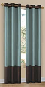 Duck River Textile Britney 2-Tone Grommet Panel, Aqua/Blue/Brown