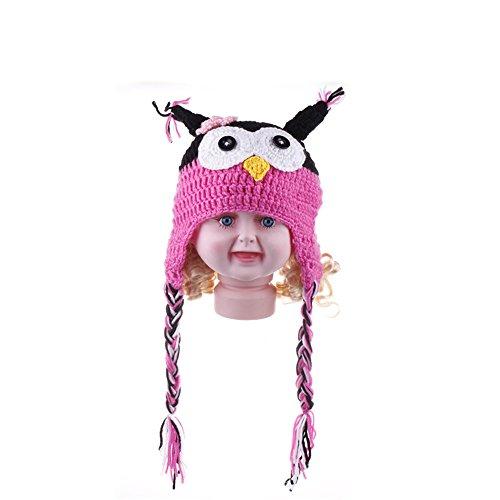 Elee Handmade Toddler Baby Owls Crochet Knit Cotton Earflap Hat Photo Props Cap (#1 Rose)