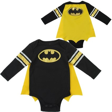 42c7e597b58 Batman Costume Baby Bodysuit Creeper with Cape Long Sleeve