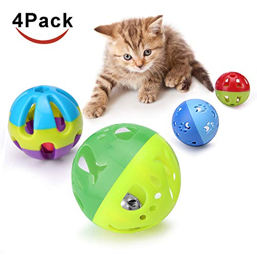 Cat Plastic Ball Toys 4PCS Sizes Pack Bin Kitten Pet Playing Sets with Jingle Bell 3.8 in, 2.8 in, 1.8 in,1.5 in ()