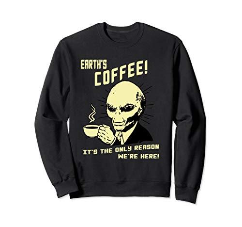 Funny Alien Shirt - Aliens Love Coffee UFO Sweatshirt