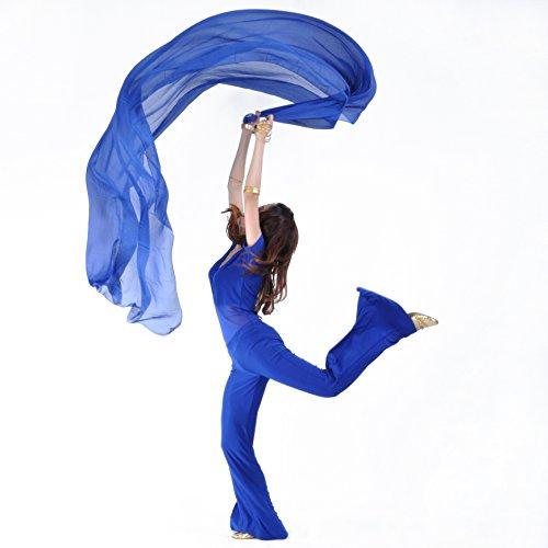 SHOWYOU 250x120cm 9 Colors 100% Chiffon Scarf Belly Dance Scarf Throwing Yarn Scarf Prop (Dark Blue)