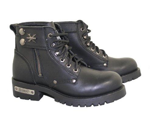 Xelement 2505 Righteous Womens Black Zipper Motorcycle Boots - 8