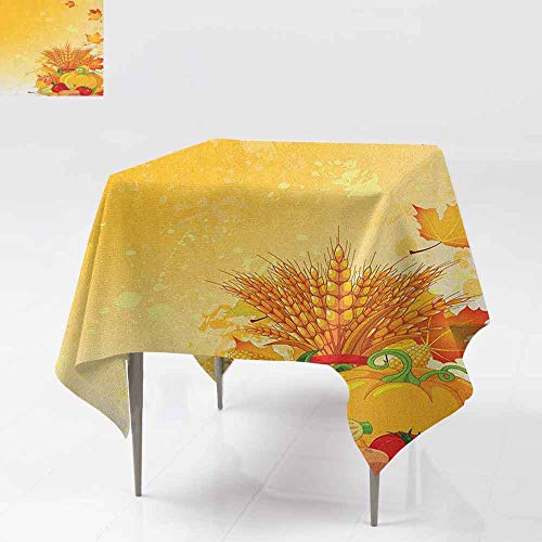 - AndyTours Spill-Proof Table Cover,Harvest,Vivid Festive Collection of Vegetables Plump Pumpkins Wheat Fall Leaves,Party Decorations Table Cover Cloth,54x54 Inch Earth Yellow Green Red