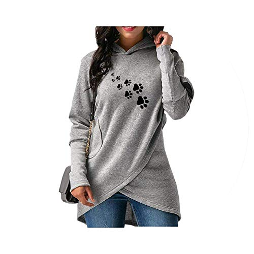 Jacket Cropped Tech Outerwear - Fashion Dog Paws Hoodies Female Casual Loose Cropped,XXX-Large,Gray