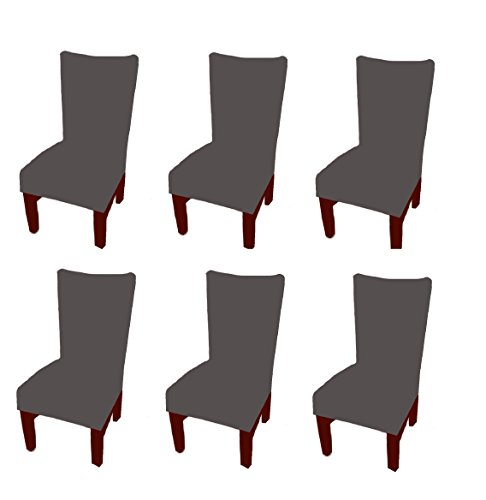 6 X Stretch Removable and Washable Spandex/Fabric Dinning Room Chair Seat Covers , Moonter Banquet Slipcover Protector Folding Decoration For Wedding, Party,Ceremony ,Hotel (Set of 6, Grey) (Chair Folding Room Dining)