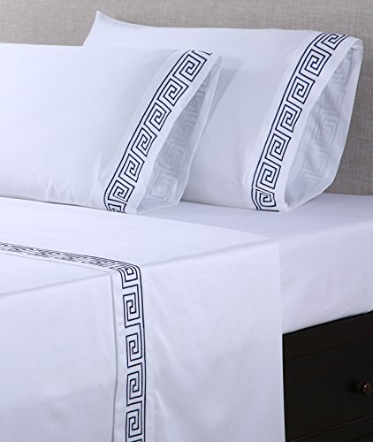 Greek Key Pillow Embroidered - Affluence 600 Thread CoAffluence 600 Thread Count 100% Cotton Embroidered Pillowcase Sets - Greek Key Pattern (King Pillowcase Set, White/Navy)