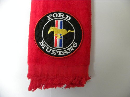 Ford Mustang Golf Towel Vintage Red Applique Auto Car by Tan's Club