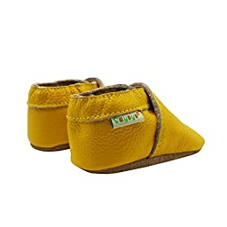 Sayoyo Lowest Best Baby Soft Sole Prewalkers Skid-resistant Baby Toddler Shoes Cowhide Shoes (6-12 months, Yellow)