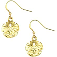 Sand Dollar Drop Earrings GoldTone by Cape Cod Jewelry-CCJ