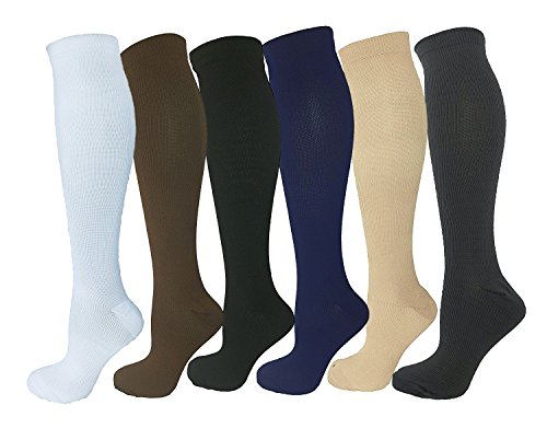 6 Pairs Knee High Graduated Compression Socks For Women and Men - Best Medical, Nursing, Travel & Flight Socks - Running & Fitness - 15-20mmHg (S/M, Assorted 1)