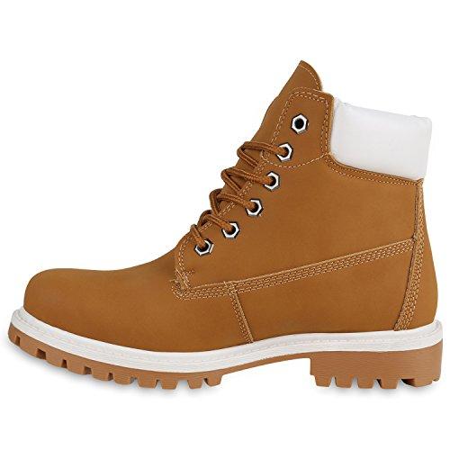 mit Hellbraun Worker Brooklyn Damen Flandell Profilsohle Weiss Unisex Blockabsatz Stiefelparadies Herren Boots zXq1AzSZ