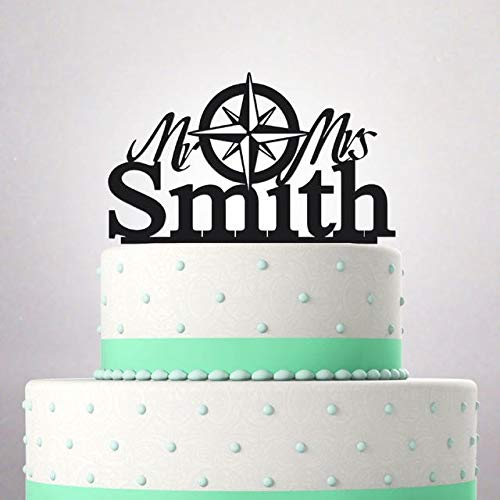 Wedding Cake Topper Mr and Mrs Surname funny young couple compass rose wind tattoo Custom Personalized Date 037