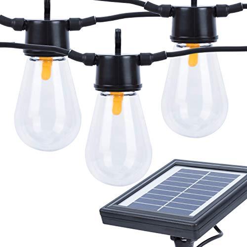 Karecel Solar Powered LED Outdoor Solar String Lights, Waterproof Commercial Grade Weatherproof Solar Edison S14 Globe Bulb Outside Gazebo Patio Hanging Cafe String Lights - 2000mAh Solar Panel, 31ft -