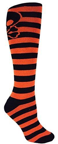 MOXY Socks Skater Skull Knee-High Halloween Striped CrossFit Deadlift Socks, Black/Orange for $<!--$12.50-->