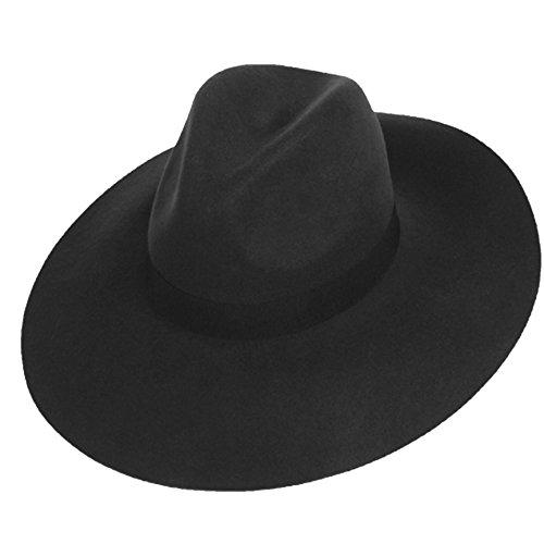 Big Brim Wool Felt Fedora (BLACK)