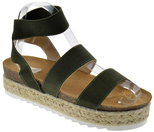- Nature Breeze FQ83 Women's Elastic Strappy Lug Sole Platform Sandals, Color:Olive, Size:8