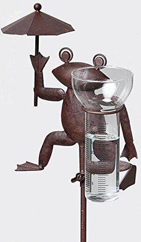 Frosch- Regenmesser aus Metall, 117,5 cm, Niederschlagsmesser, wetterfest, Gartenstecker Brema