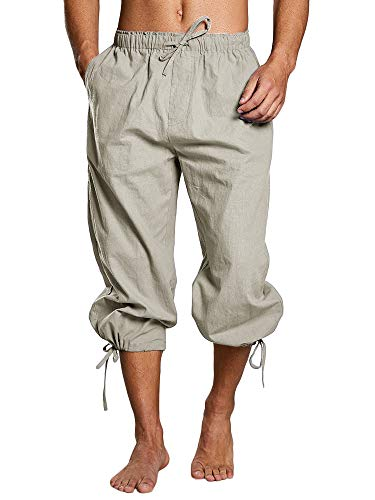 Tenkilo Mens Renaissance Pirate Costume Medieval Pants Viking Cosplay Knicker Knee Length Cotton Linen Shorts (Medium, C-Khaki) -