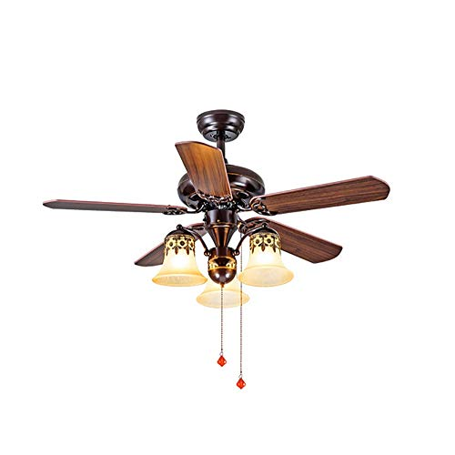 American Electric Fan Light, Remote Control Pull Rope Control Antique Ceiling Fan 3 Speed Adjustment Wind Speed Four Seasons Available Home Decoration Fan Chandelier