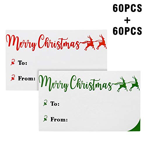 Christmas Stickers,120PCS Christmas Gift Stickers,Christmas to from Stickers,Red and Green Christmas Labels,Holiday Presents Labels for Gift Boxes or Bags Decorative (2.4
