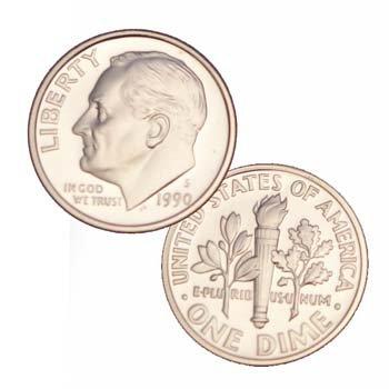 Roosevelt Dime 10 Cent Coin (1990 S Us Mint Roosevelt Proof 10 Cent Dime Coin)