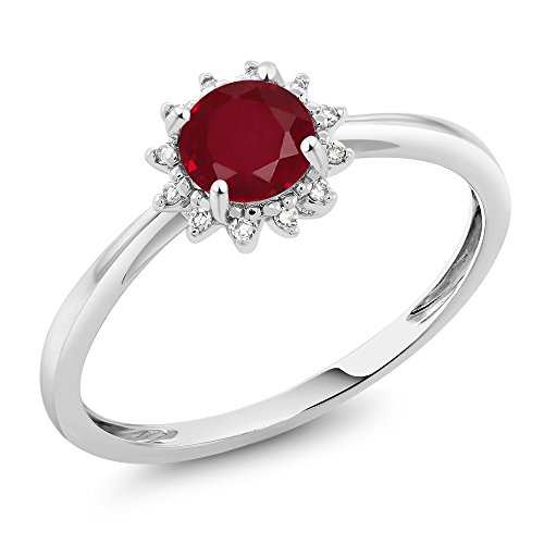 10K White Gold Red Ruby and Diamond Engagement Ring 0.55 Ctw Available in (Size 5) ()